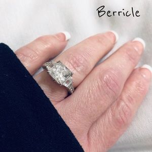 .925 Berricle Princess CZ 3 Stone Ring 4CTW